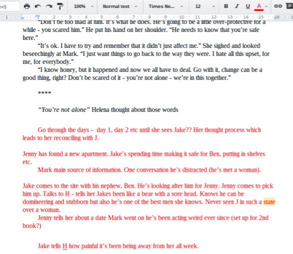 screenshot for blog notes in red